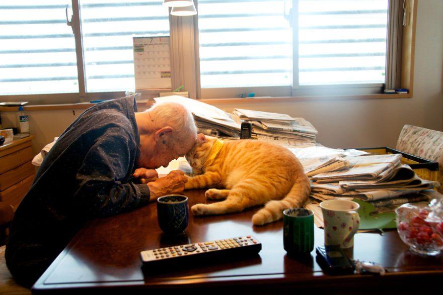 grandpa and cat
