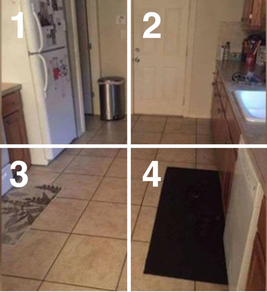 dog hiding kitchen photo